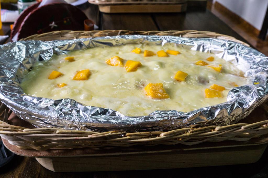 Filet z pstrąga zapiekany w sosie z mango.